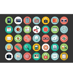 Collection of flat design icons cloud computing vector image
