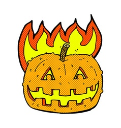 Comic cartoon pumpkin vector
