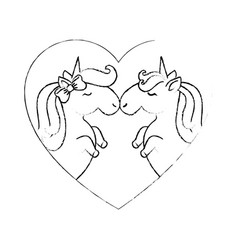 Cute unicorns cartoon vector