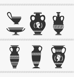 greek vase set vector image