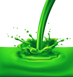 Green paint splashing vector image