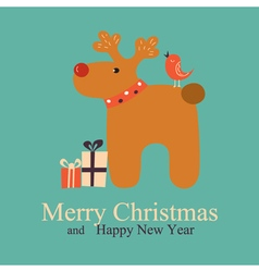 Greeting card with deer vector