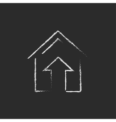 Growth of real estate market icon drawn in chalk vector image vector image