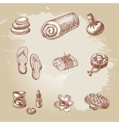 Hand drawn spa and thai massage element set vector