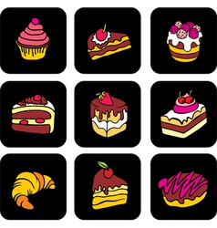 Icons with cake vector