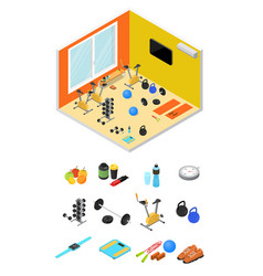 interior gym with exercise equipment isometric vector image vector image