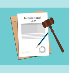 international law agreement stamped with folder vector image