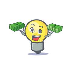Light bulb character cartoon with money vector