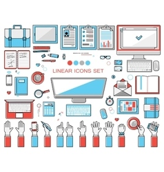 linear workplace icons collection flat style vector image vector image