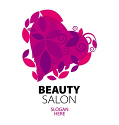 logo heart of red leaves to the beauty salon vector image vector image