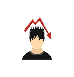 Man with falling red graph over his head icon vector