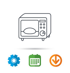 microwave oven icon kitchen appliance sign vector image