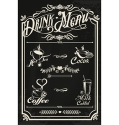 Restaurant drink menu design with chalkboard vector image