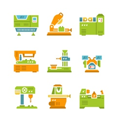 Set flat icons of machine tool vector
