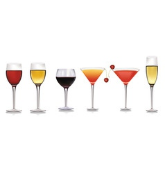 set of different drinks vector image vector image
