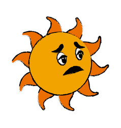 sick sun cartoon mascot character vector image