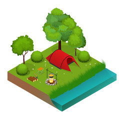 Summer camping and tent near a river or lake flat vector