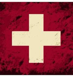 Swiss flag Grunge background vector image vector image