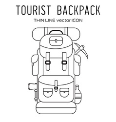 Thin line back pack isolated icon vector