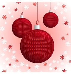 Three Red Knitted Christmas Balls vector image vector image