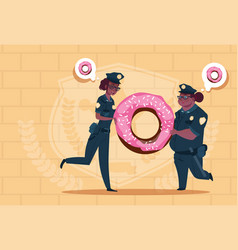 Two african american police women holding donut vector