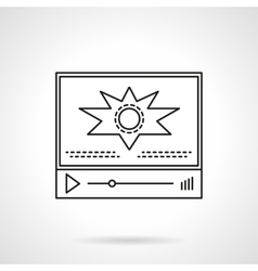 Video blog player flat line icon vector