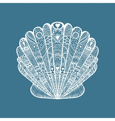Zentangle stylized white sea shell Hand Drawn vector image vector image