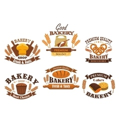 Bakery shop isolated icons set vector