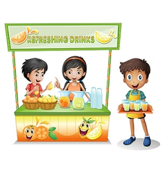 Kids at the stall selling refreshing drinks vector