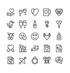 Love and valentine line icons 12 vector