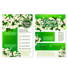 Spring flower greeting poster and flyer template vector