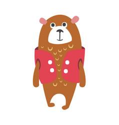 Cute cartoon brown teddy bear in cerise vest vector