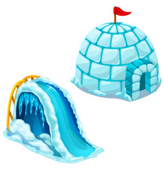Ice house igloo and childrens ice slide vector