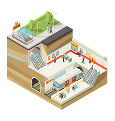 isometric underground station concept vector image