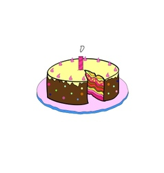 Birthday cake with colorful with lit candles vector