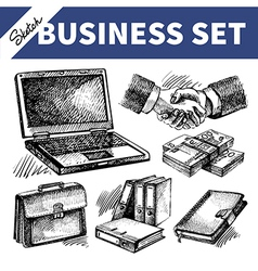 Sketch business set vector