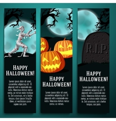 Set of halloween banners with mummy jack o lantern vector
