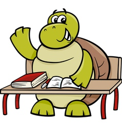Turtle raising hand cartoon vector