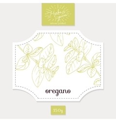 Product sticker with hand drawn oregano leaves vector