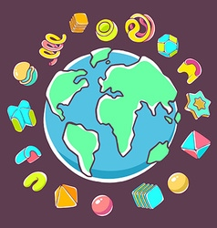 Colorful of planet earth on dark background vector
