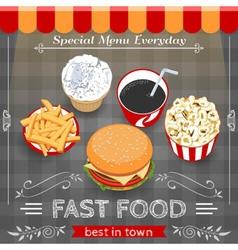 Colorful fast food menu poster vector