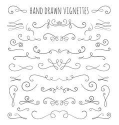 Set of hand drawn vignettes in retro style vector