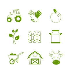 Farm linear icons set vector