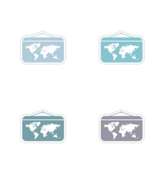 Set of paper stickers on white background world vector