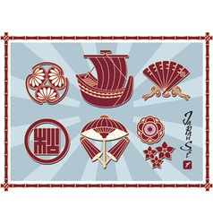 Set of traditional japanese pattern vector