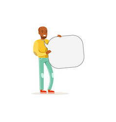 african man character with empty message board vector image vector image