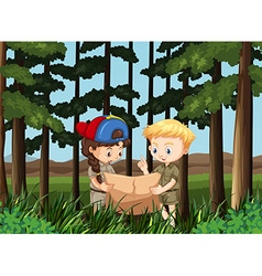 Boy and girl reading map in the forest vector