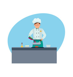Chef in branded clothes in modern hotel vector