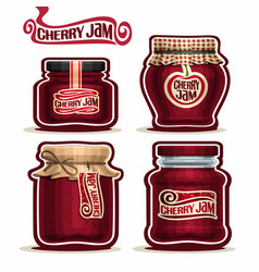 Cherry jam in glass jars vector
