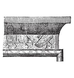 Cornice of entablature over doorway at the great vector